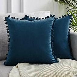 Top Finel Decorative Throw Pillow Covers with Pom Poms Soft