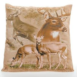 Decorative Throw Pillow with Printed Cover - Rustic Wildlife
