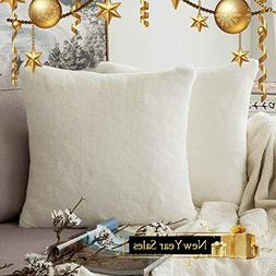MIULEE Pack of 2 Decorative White Fur Pillow Cover Luxurious
