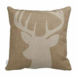 """Deer Antlers Design Natural Image 18"""" x18"""" Throw Pillow for"""