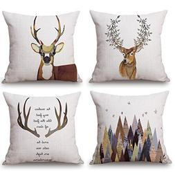 ULOVE LOVE YOURSELF Deer Throw Pillow Case 4 Pack Cotton Lin