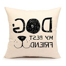 Dog Lover Throw Pillow Cover Cushion Case 18 x 18 Inch Cotto