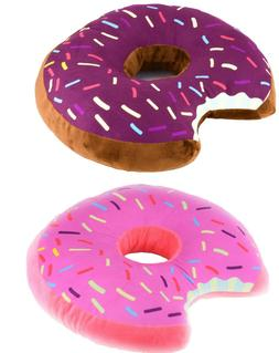 Donut Shaped Plush Pillow Sprinkled Comfy Seat Cushion Food