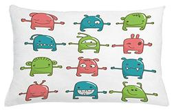 Ambesonne Doodle Throw Pillow Cushion Cover, Twelve Monsters