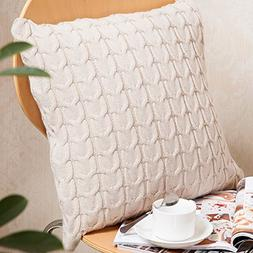 Sanifer Double-Side Cable Knit Decorative Throw Pillow Cover