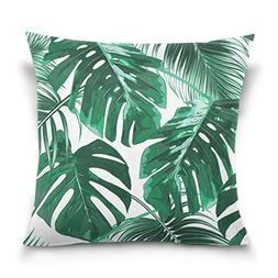 Double Sided Tropical Green Palm Leaves Cotton Velvet Square