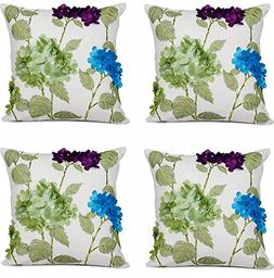 Top Finel Durable Cotton Embroidered 3D Flower Throw Pillows