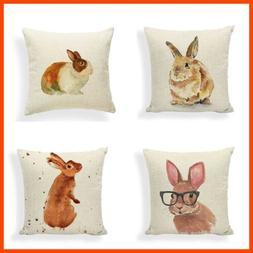 PSDWETS Easter Rabbit Home Decor Pillow Covers Set of 4 Cott