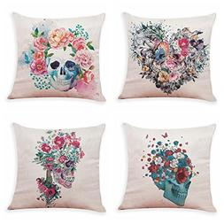 4 Pack Easter Sugar Skull Throw Pillow Covers,Two Skulls in
