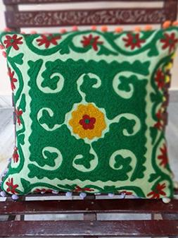 Embroidered Cotton Cushion Cover With Pom Pom, Designer Suza