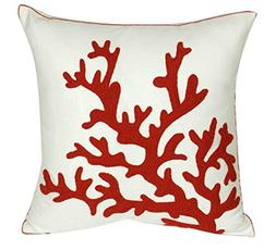 DECOPOW Embroidered Orange-Red Coral Pillow Covers,Square 18