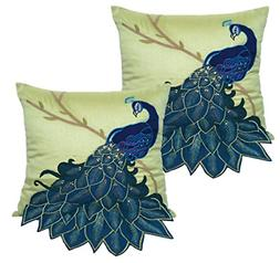 BLUETTEK Embroidered Gorgeous Peacock Decorative Throw Pillo