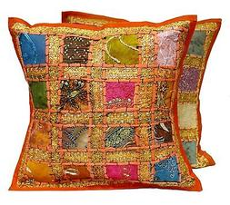 Embroidered Indian Decorative Toss Throw Cushion Pillow Cove