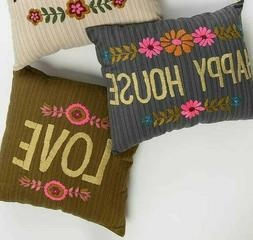 Natural Life EMBROIDERED THROW PILLOWS u pick KINDNESS MATTE
