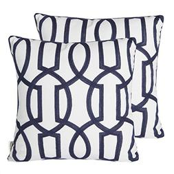 Mika Home Pack of 2 Embroidery Geometric Links Accent Decora