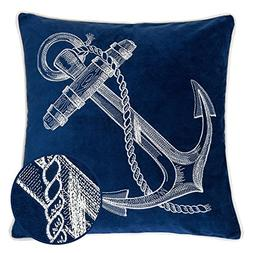 Homey Cozy Embroidery Navy Velvet Anchor Throw Pillow Cover,