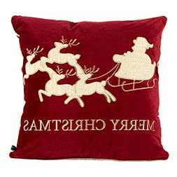 Homey Cozy Embroidery Red Velvet Throw Pillow Cover, Merry C