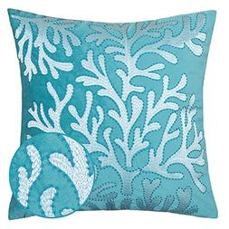 Homey Cozy Embroidery Teal Velvet Coral Island Throw Pillow