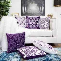 Homey Cozy Embroidery Throw Pillow Cover Purple Series Large