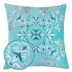 Homey Cozy Embroidery Turquoise Velvet Throw Pillow Cover,Oc