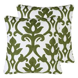 Pack of 2 Mika Home Embroidery Vintage Floral Throw Pillow C