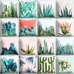 EP_ Cactus Flower Print Bed Throw Pillow Case Cushion Cover