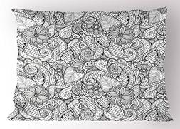 Ambesonne Ethnic Pillow Sham, Monochrome Flowers Hearts and