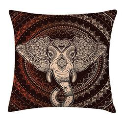 Ambesonne Ethnic Throw Pillow Cushion Cover, Oriental Elepha