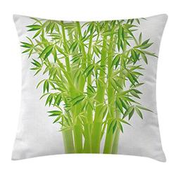 Ambesonne Exotic Throw Pillow Cushion Cover, Bamboo Stems wi