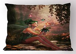Ambesonne Fairy Pillow Sham, Girl with Wings and Butterflies
