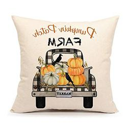 4TH Emotion Fall Pumpkin Patch Truck Throw Pillow Cover Autu