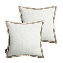 Phantoscope Pack of 2 Farmhouse Burlap Linen Trimmed Tailore
