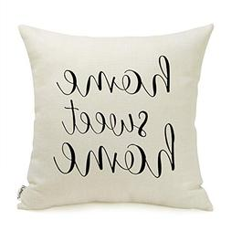 Meekio Farmhouse Pillow Covers with Home Sweet Home Quotes 1