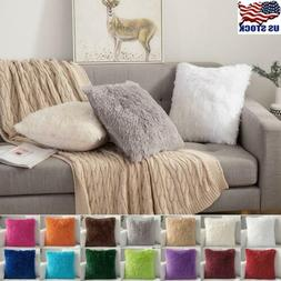 Faux Fur Fluffy Plush Throw Pillow Cases Shaggy Soft Chair S