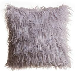"Faux Fur Throw Pillow 18""x18"" With Insert, Mongolian Long Ha"