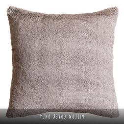 "Faux Fur Throw Pillow 18""x18"" , Grey Mink"