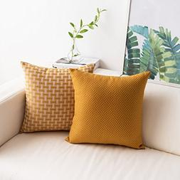 2 Pack Mustard Yellow Throw Pillow Covers Cases Dots and Che