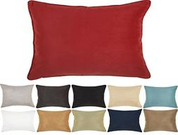 DreamHome 12 X 18 Inches Faux Suede Decorative Lumbar Pillow
