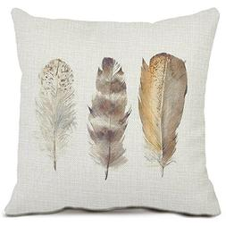 Feather Decorative Throw Pillow Covers Cotton Linen Square C