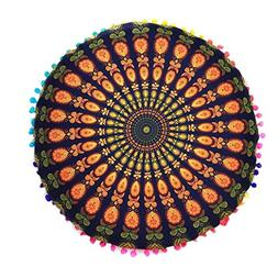 Floor Throw Pillowcase, Kimloog Indian Mandala Round Cushion