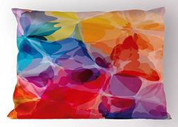 Ambesonne Floral Pillow Sham, Vibrant Colors Abstract Creati