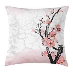 Ambesonne Floral Throw Pillow Cushion Cover, Japanese Cherry