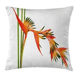 Ambesonne Floral Throw Pillow Cushion Cover, Exotic Tropical