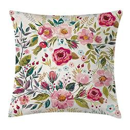 Ambesonne Floral Throw Pillow Cushion Cover by, Shabby Chic