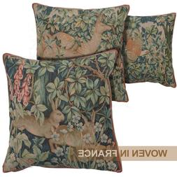 William Morris French Tapestry Throw Pillow Cover Woven Hare