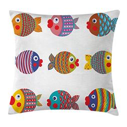 Funny Decor Throw Pillow Cushion Cover by Ambesonne, Puffers