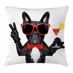 Ambesonne Funny Throw Pillow Cushion Cover, French Bulldog H