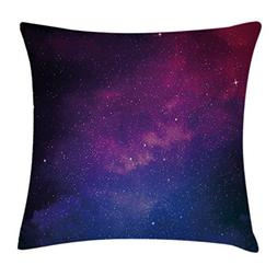Galaxy Throw Pillow Cushion Cover by Ambesonne, Pink and Blu