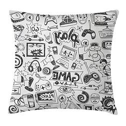 Ambesonne Video Games Throw Pillow Cushion Cover, Monochrome