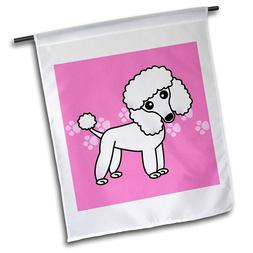 Garden Yard Flag - Cute White Poodle Pink Paw Print Backgrou